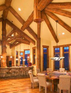 Hybrid Log House on Golf Course - traditional - dining room - denver - Sitka Log Homes