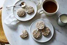 Vietnamese Iced Coffee Cookies Recipe on - These snappy, crisp, shortbread-like cookies are full of coffee flavor with a sweet, condensed milk - Cookie Desserts, Dessert Recipes, Bar Recipes, Vietnamese Iced Coffee, Condensed Milk Recipes, Coffee Cookies, Iced Cookies, Food 52, Coffee Recipes