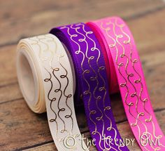 """The Trendy Owl - unique bow making supplies 7/8"""" Gold Foil Doodle Swirls - Tangled/Rapunzel Inspired"""