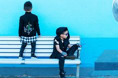 Little Boys Blue features models and Instagram influencers @ethan.and.evan wearing Sustainable, Vegan Kids Designer Fashion Brand Infantium Victoria.