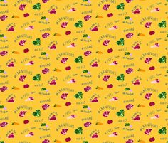 Carnivore fabric by plaid_thursdays on Spoonflower - custom fabric Yellow Fabric, Custom Fabric, Spoonflower, Veggies, Plaid, Meat, Wallpaper, Prints, Pattern