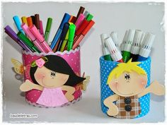 adorable children pen holder, and a cute whimsy giraffe done in fun foam w/patterns, NOT in English Kids Crafts, Tin Can Crafts, Foam Crafts, Diy And Crafts, Arts And Crafts, Fathers Day Art, Mothers Day Crafts, Soda Can Art, Pencil Toppers