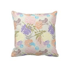 Colorful Floral Throw Pillow With Birds