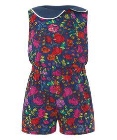 Look at this #zulilyfind! Navy Floral Collar Jumpsuit - Toddler & Girls by Uttam Kids #zulilyfinds