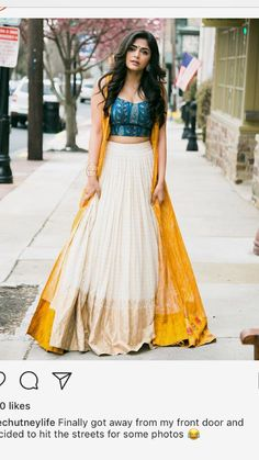 Indian Designer Outfits, Indian Outfits, Designer Dresses, Frock Fashion, Fashion Dresses, Global Desi, Cream Skirt, Indian Gowns Dresses, Designer Bridal Lehenga