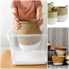 Dip-Dyed Baskets, DIY and Crafts, When dipped in paint, rustic baskets become thoroughly modern carryalls that look as if they came straight out of a design shop. Fun Crafts, Diy And Crafts, Decor Crafts, Old Baskets, Rustic Baskets, Woven Baskets, Painted Baskets, Diy Inspiration, Martha Stewart Crafts