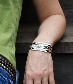 Words to live by Metal Stamped Bracelet - I ALWAYS PICK THE THIMBLE