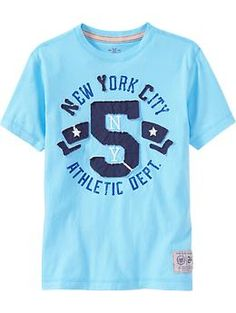 Boys Premium Applique-Graphic Tees | Old Navy Mens Tee Shirts, Boys Shirts, Casual T Shirts, New T Shirt Design, Tee Design, Shirt Designs, Great T Shirts, Baby Kids Clothes, Boy Outfits
