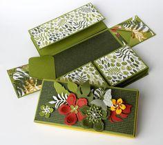 Maxi-Explosionsbox als Minialbum, Pflanzen-Potpourri, Designerpapier Botanischer Garten, Eleganter Schmetterling, crehand und Stampin' Up!, mit 2-teiliger Videoanleitung
