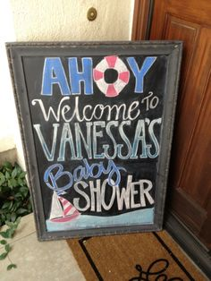ahoy nautical chalk board