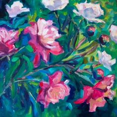 Peonies 10x10 oil on canvas $135, painting by artist Elizabeth Fraser