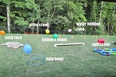 Field Day Games For Kids Discover Pretty Real: How to Create a Backyard Obstacle Course for Your Kids How to make a backyard obstacle course for your kids Obstacle Course Party, Toddler Obstacle Course, Backyard Obstacle Course, Backyard Birthday Parties, Outdoor Birthday, Birthday Party Games, 7th Birthday, Wedding Backyard, Sleepover Party