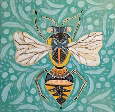 Lulie Wallace is a young artist who creates fun whimsical pieces. Usually known for her florals, Wallace has changed direction with a series of bugs. Art And Illustration, Oil Painting Abstract, Abstract Art, Bee Art, Insect Art, Mural Art, Recycled Art, Heart Art, Deco
