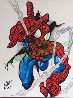 A personal favorite from my Etsy shop https://www.etsy.com/listing/151400339/acrylic-painting-spider-man-web-action