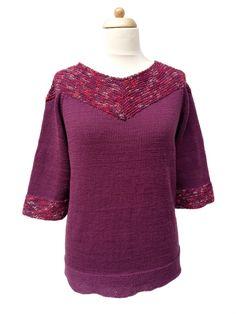 Burgundi Flammé betéttes nyári pamut pulóver | Kössünk Lányok!
