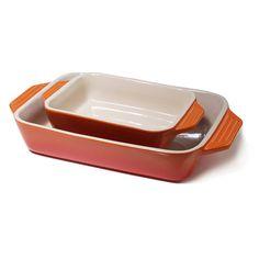 Le Creuset Stoneware Flame 2 Piece Rectangular Casserole Dish Set * Huge discounts available now! : Bakeware