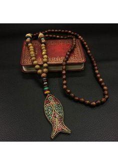 rotita.com - unsigned Beads Decorated Vintage Fish Shape Necklace - AdoreWe.com
