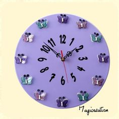 Horloge silencieuse violette l' envolée de papillons Decoration, Clock, Etsy, Vintage, Wall, Home Decor, Handmade, Papillons, Wall Art