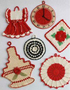 PB085 Premium Vintage Potholders - Set 2 Crochet Pattern-All the crocheted potholders in this crochet pattern are made using size 10 crochet cotton thread and a steel # 7 crochet hook. They are all double thickness so they can be used with heat. Skill Level: Intermediate.