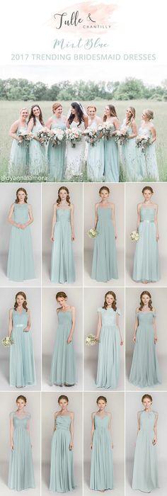 2017 trending mint blue bridesmaid dresses
