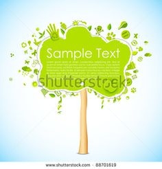 illustration of paper tree with eco friendly icon