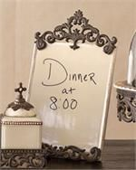 http://www.classichostess.com/glasslouislvcanisterset.aspx#    GG Ceramic Message Board With Burnished Bronze Metal Scrolls