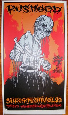littleshopbox is selling an original Screen Printed Poster from the Superfestival 20 Convention in Tokyo, Japan. This poster was released on Jan 7 It is signed & numbered by Pushea… Concert Flyer, Concert Posters, Music Artwork, Art Music, Metallica Albums, Football Casuals, Screen Print Poster, Metal Albums, Photo Wall Collage