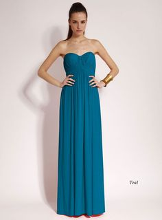 Strapless Jersey Bridesmaid Maxi Dress in Coral, Blue and Purple.