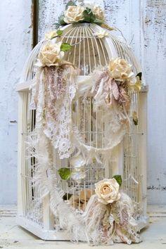 Wedding birdcage card box white wooden by AnitaSperoDesign on Etsy