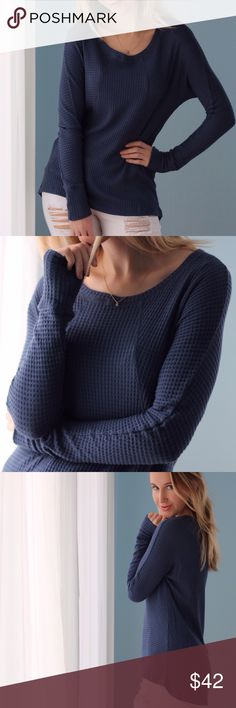 Soho Waffle Thermal | Navy ◽️The Soho Waffle Thermal is so soft and comfy! ☁️ Stylish high low hem, subtle dolman sleeve, chic sleeve detailing. Classic navy color. Same amazing material as my previously sold out waffle thermal styles! 97% rayon 3% spandex. New. Made in USA. Also available in mauve and beige - I love these so much I kept 1 of each!  ▫Sizes: S M L ▫️I am modeling S ▫️Price firm  Photos are my own Tops Tees - Long Sleeve