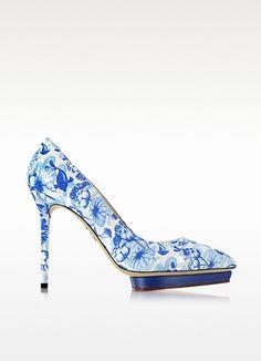Debbie Blue Koi Print Patent Leather Platform Pump - Charlotte Olympia #WomensShoes