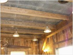 Rustic Tin Ceiling Ideas -corrugated Metal In the Home Kitchen Wall Colors, Kitchen Colour Schemes, Rustic Tin Ceilings, Redo Kitchen Cabinets, Kitchen Wood, Corrugated Metal, Corrugated Tin Ceiling, Tin Walls, New Kitchen Designs