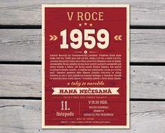 Retro narozeninová pozvánka 1959 plná vzpomínek | Lepilova.cz Retro, Graphic Design, Retro Illustration, Visual Communication