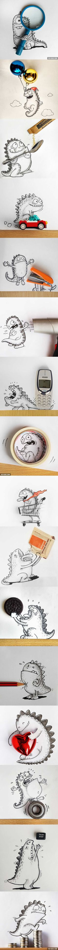 Cute dragon drawing playing with everyday things
