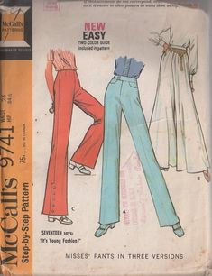 MOMSPatterns Vintage Sewing Patterns - McCall's 9741 Vintage 60's Sewing Pattern GROOVY Easy Button Waistband or dart Fitted Bell Bottoms with SIDE SNAPS, Full Flared Palazzo Pants Set