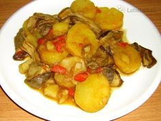 Hribky na paprice Gluten Free Recipes, Free Food, Potatoes, Chicken, Vegetables, Red Peppers, Recipes, Potato