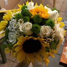 Bridal Bouquet- sunflowers, white roses, babies breath, green poms