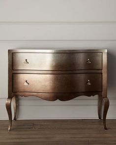 metal furniture What a cool idea! Painted chest in dark metalic COPPER! French Connection Chest by Schnadig Corporation at Horchow. Metallic Painted Furniture, Paint Furniture, Metal Furniture, Furniture Projects, Furniture Makeover, Furniture Design, Chest Furniture, Metallic Dresser, Rustic Furniture