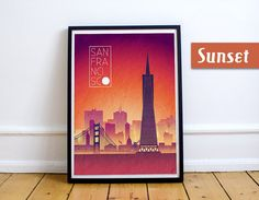 SAN FRANCISCO Sunset Skyline Art San Francisco by JackTravelMap
