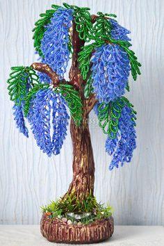 Деревья из бисера. Глициния с ночником. Мастер-класс с пошаговыми фото