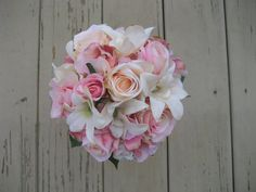 Wedding Bouquet Pink and Ivory by DESIGNSBYDME on Etsy, $60.00