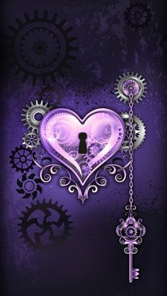 Wallpaper By Artist Unknown Wallpaper By Art Purple Wallpaper, Heart Wallpaper, Love Wallpaper, Cellphone Wallpaper, Wallpaper Backgrounds, Iphone Wallpaper, Purple Art, Purple Love, All Things Purple