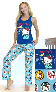 a282bb281 NWT Sanrio Hello Kitty Pajama Set with Statue of Liberty and New York,L #
