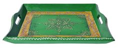 Wooden Colorful Tray Meenakari Work Painted Indian Party Serving Tray #Handmade