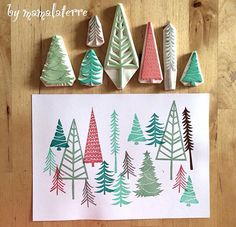 christmas crafts for infants Christmas forest Noel Christmas, Handmade Christmas, Christmas Crafts, Stencil, Homemade Stamps, Eraser Stamp, Stamp Carving, Arts And Crafts, Paper Crafts