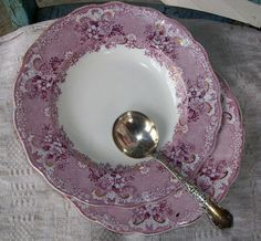 Antique Soup Bowls Beautiful Mauve and Gold by catsinthecradlesoap, $34.00