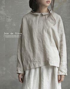 【送料無料】Joie de Vivre  コルトレイクリネン×ラミーリネン チビ衿デザインブラウス