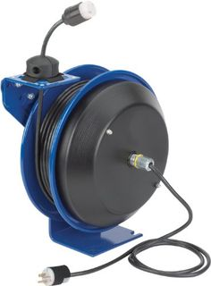 Coxreels PC13-5012-A Power Cord Spring Rewind Reels: Single Industrial Receptacle, 50′ cord, 12 AWG