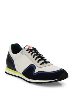 PAUL SMITH Multi-Texture Mixed Media Sneakers. #paulsmith #shoes #sneakers