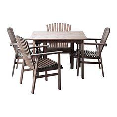 SUNDERÖ Table et 4 chaises IKEA Chaise aux formes généreuses avec un dossier incliné et de larges accoudoirs pour davantage de confort.
